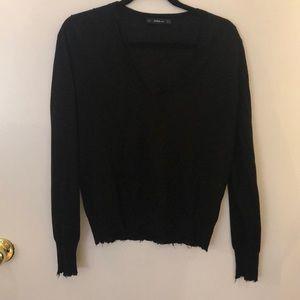 Zara Distressed V- Neck Sweater